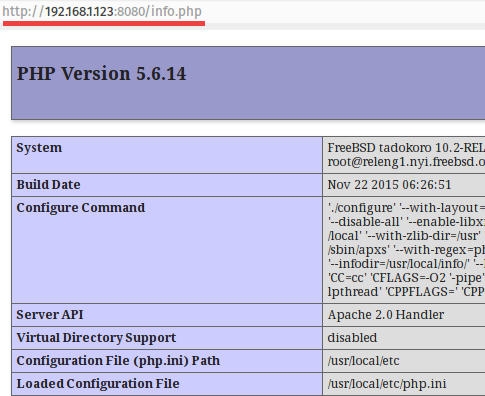 Apache and PHP on Port 8080