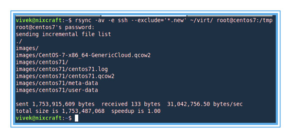 Scp exclude files but using rsync exclude command